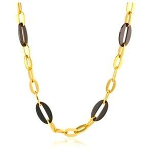 GOLD STAINLESS STAINLESS & BLACK CERAMIC NECKLACE